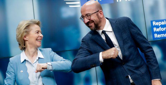 Illustrationsbild: EU-kommissionens ordförande Ursula von der Leyen och EU-rådets ordförande Charles Michel.  Stephanie Lecocq / TT NYHETSBYRÅN