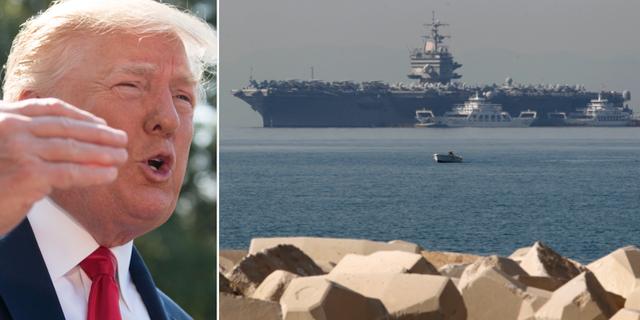 Donald Trump/USS Abraham Lincoln, som befinner sig i Mellanöstern. TT