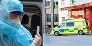 En ambulanssjukvårdare visar upp ett provtagningskit/Ambulans i Stockholm. Illustrationsbilder. TT