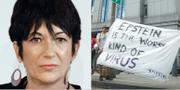 Ghislaine Maxwell och en manifestation mot Epstein utanför domstolen.  TT