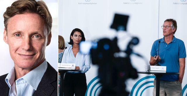 Attendos vd Martin Tivéus/Statsepidemiolog Anders Tegnell på en pressträff. Pressbild/TT
