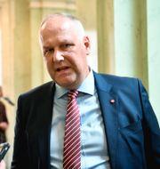 Vänsterpartiets partiledare Jonas Sjöstedt (V) i riksdagshuset efter riksmötets öppnande. Henrik Montgomery/TT / TT NYHETSBYRÅN