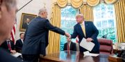 Trump och Liu He i Vita huset. Arkivbild. Andrew Harnik / TT NYHETSBYRÅN
