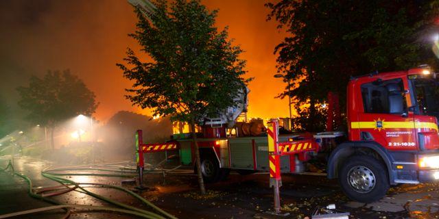 Bild från branden i måndags. Staffan Claesson
