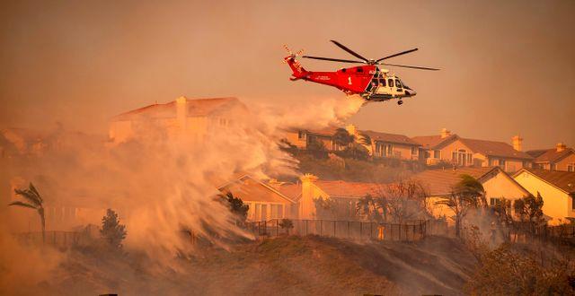 Elden bekämpas med helikopter. JOSH EDELSON / AFP