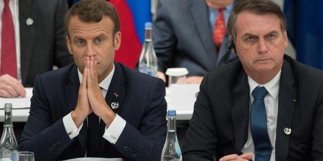 Arkivbild på Macron och Bolsonaro.  JACQUES WITT / POOL