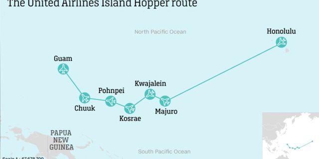 Honolulu till Guam – flighten går fyra gånger i veckan i båda riktningarna. CNN