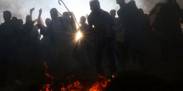 Palestinska protester mot blockaden mot Gaza. Ibraheem Abu Mustafa / TT NYHETSBYRÅN