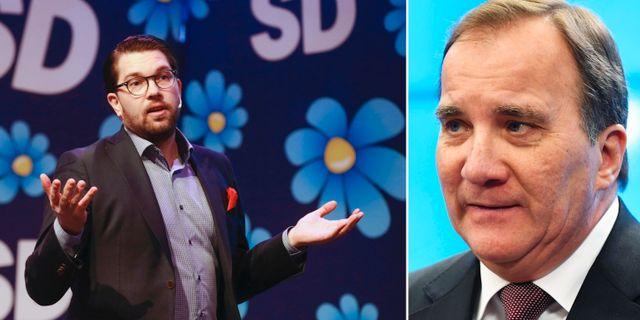Jimmie Åkesson (SD) och Stefan Löfven (S). TT
