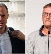 Storbritannien utrikesminister Dominic Raab och Sveriges statsepidemiolog Anders Tegnell  Toby Melville/AP och  Amir Nabizadeh/TT