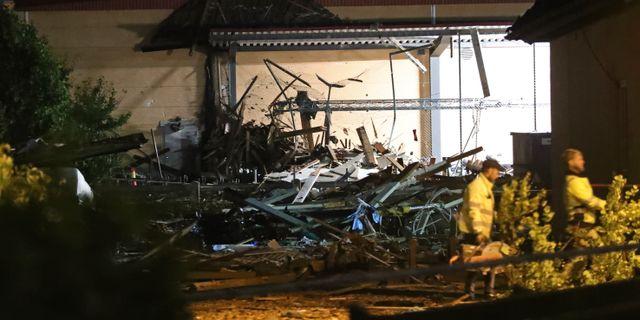 Bilder på explosionsplatsen. Jeppe Gustafsson/TT / TT NYHETSBYRÅN