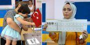 Bilder från vallokaler i staden.  TT