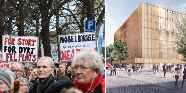 Protest mot Nobelcenter (t v), Nobelcentret (t h). TT/DAVID CHIPPERFIELD ARCHITECTS