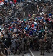 Polis omringar migranter. Sandra Sebastian / TT NYHETSBYRÅN