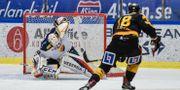 Pontus Petterström gör det avgörande 3-2 målet i förlängningen under måndagens SM-slutspel i ishockey, semifinal 4 i bäst av 7, mellan Skellefteå AIK och Djurgårdens IF i Skellefteå Kraft Arena Erland Segerstedt / TT / TT NYHETSBYRÅN