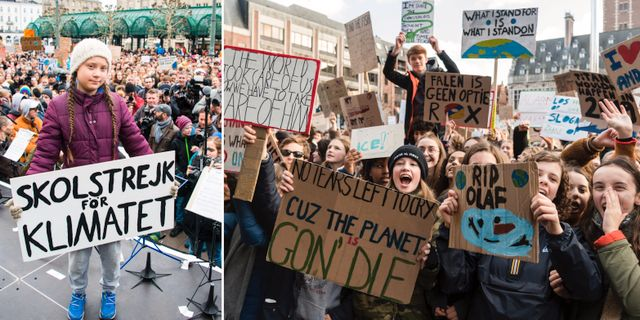 Greta Thunerg/strejkande ungdomar i Belgien. TT