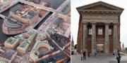 Flygbild över flera riksdagsbyggnader/Ledamotshuset till höger Riksdagen/Mattias Ek
