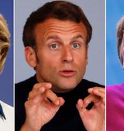 Ursula von der Leyen, Emmanuel Macron och Angela Merkel. TT