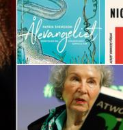 """Anna-Karin Palm med sin biografi """"Jag vill sätta världen i rörelse"""", omslagen till """"Ålevangeliet"""" och """"Nickelpojkarna"""" samt författaren Margaret Atwood med boken """"The Testaments"""".  TT / Albert Bonniers förlag"""