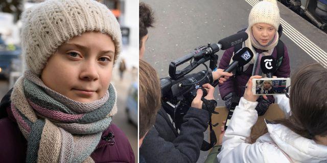Greta Thunberg när hon anlände till Davos.  TT
