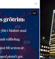 DN:s tweet/DN-huset i Stockholm. Instragram/TT