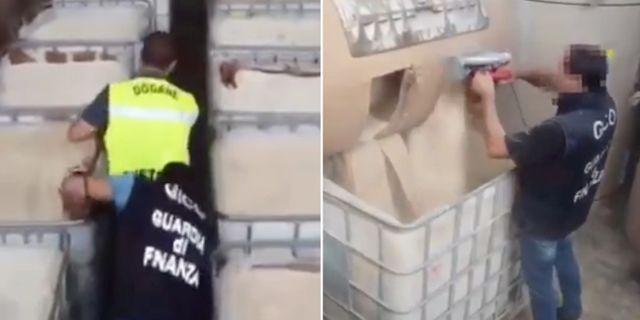 Tabletterna hade gömts i industripapperscylindrar. Polisen på Twitter
