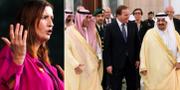 Till vänster: Birgitta Ohlsson (L). Till höger: Löfven i sällskap med handels- och investeringsminister al-Qassabi och Riyadhs guvernör Faisal bin Bandar Al Saud. TT