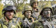 Illustrationsbild. Soldater med kamouflagemålning under försvarsövningen Aurora 17.  Jonas Ekströmer/TT / TT NYHETSBYRÅN