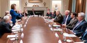 Nancy Pelosi och Donald Trump under gårdagens möte. WHITE HOUSE / TT NYHETSBYRÅN