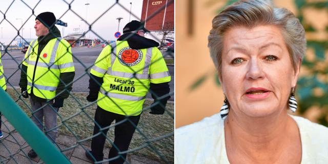 Tv. Strejkvakter utanför Malmö hamnområde. Th. arbetsmarknadsminister Ylva Johansson  TT