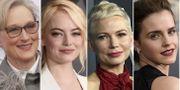Meryl Streep, Emma Stone, Michelle Williams och Emma Watson väntas komma med varsin gäst. TT/AP