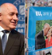 Bojko Borisov/Protester mot Borisov till följd av korruptionsanklagelserna. Enligt Politico har hans partigrupp EPP reagerat med tystnad på misstankarna. TT
