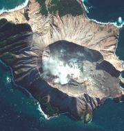 Satellitbild på vulkanen.  TT NYHETSBYRÅN