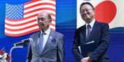 Handelsminister Willbur Ross bredvid japanen Atsuo Kuroda vid toppmötet i Bangkok. ROMEO GACAD / AFP