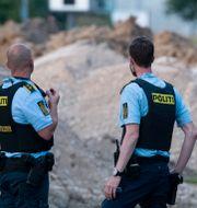 Polis på brottsplatsen.  Johan Nilsson/TT / TT NYHETSBYRÅN