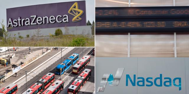 Astra Zeneca, Nobinas bussar och Stockholmsbörsen. TT