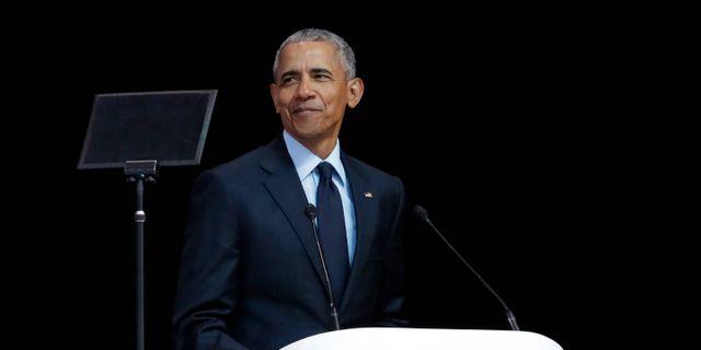Barack Obama i Johannesburg på tisdagen. Themba Hadebe / TT / NTB Scanpix
