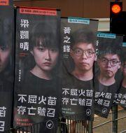 Arkivbild. Valaffischer för prodemokratiska kandidater i Hongkong, juli 2020.  Kin Cheung / TT NYHETSBYRÅN