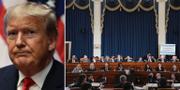 Donald Trump/bild från de pågående förhören inom ramen för riksrättsprocessen. TT
