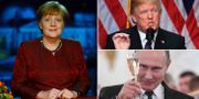 Angela Merkel/Donald Trump/Vladimir Putin. TT