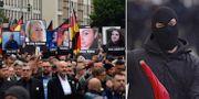 Den högerextrema demonstrationen/En maskerad motdemonstrant.  TT