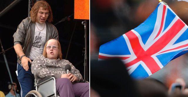 Skådespelarna David Walliams och Matt Lucas/brittisk flagga. Wikimedia Commons./TT