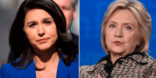 Tulsi Gabbard och Hillary Clinton. TT/AP