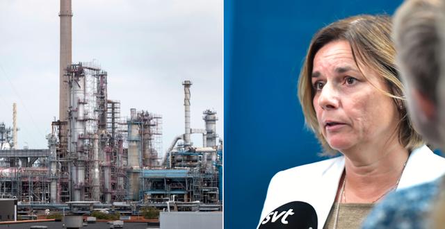 Preems oljeraffinaderi i Lysekil / Isabella Lövin (MP) TT