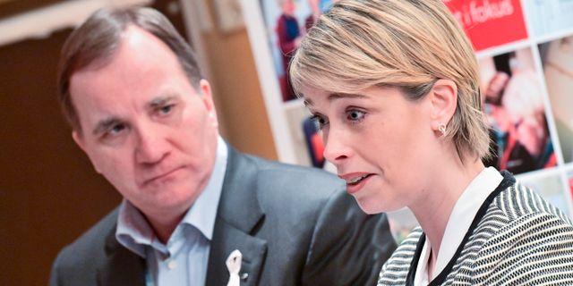 Statsminister Stefan Löfven och Socialminister Annika Strandhäll. Johan Nilsson/TT / TT NYHETSBYRÅN