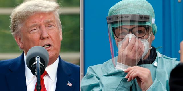 Donald Trump och en sjukvårdare vid sjukhuset i Brescia i norra Italien. TT