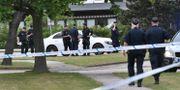 Polis på platsen efter skottlossningen Johan Nilsson/TT / TT NYHETSBYRÅN