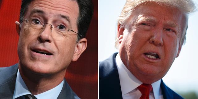 Stephen Colbert t.v. Donald Trump t.h. TT