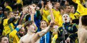 Svenska fans firar under EM-kvalet mellan Sverige och Rumänien den 23 mars. MATHILDA AHLBERG / BILDBYRÅN