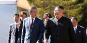 Arkivbild: Sydkoreas president Moon Jae-in besökte Kim Jong-Un i Nordkoreas huvudstad Pyongyang förra veckan.  TT NYHETSBYRÅN